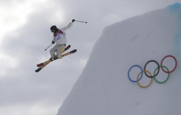 Sweden's Oscar Wester takes a jump during freestyle skiing slopestyle training at the 2014 Winter Olympics, Monday, Feb. 10, 2014, in Krasnaya Polyana, Russia. (AP Photo/Sergei Grits). (3911123)