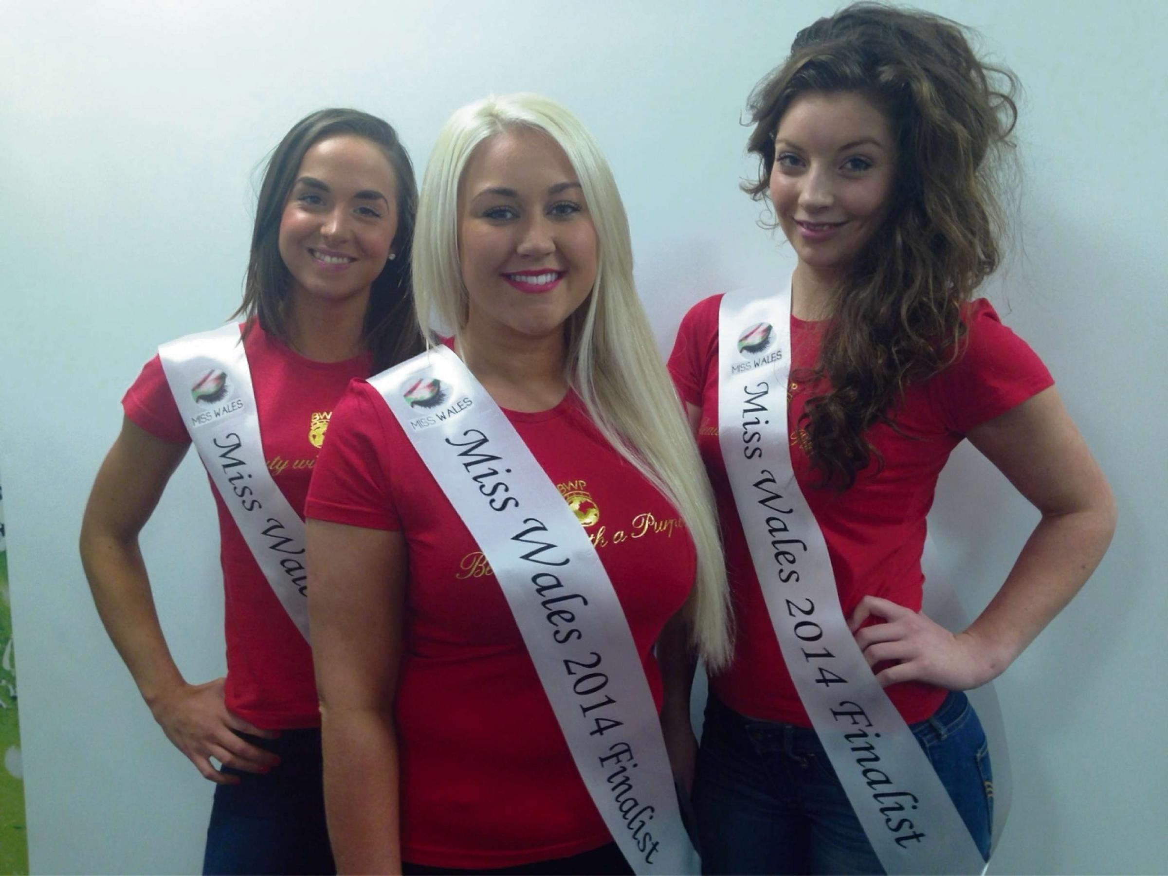 CONTEST: (l-r) Hannah Baker, Paige Morris, Louisa Fletcher will be representing Monmouthshire in Miss Wales 2014