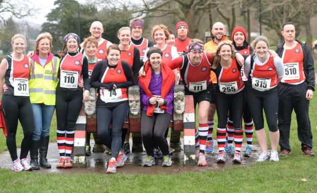 South Wales Argus: Pontypool 10k Sunday 23rd February 2014. Pontypool Runners complete with Pooler Rugby socks at Pontypool Park ready for the run. (4199391)