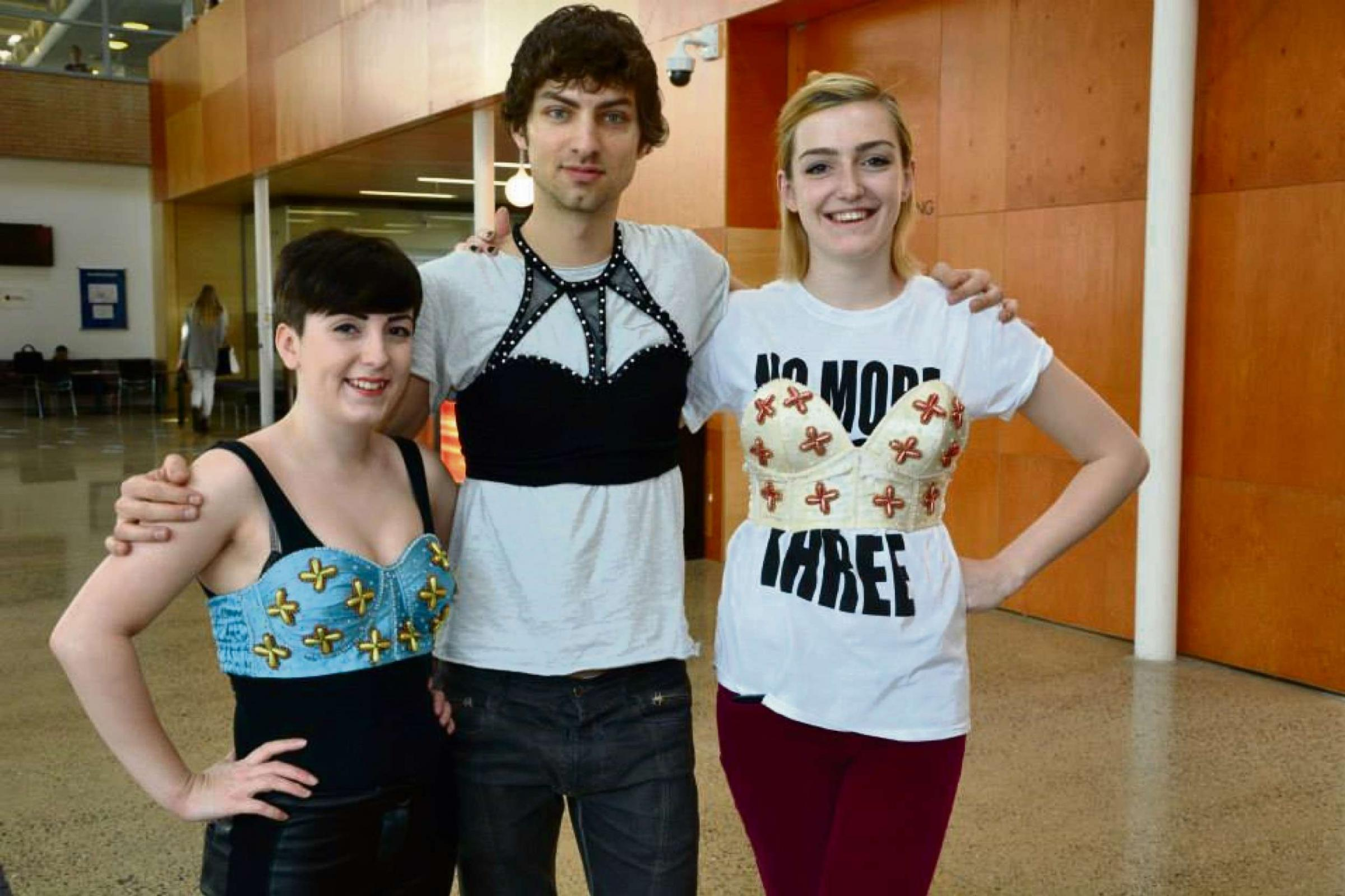 PROTESTING: Newport student Becky Evans (left), with friends Milan Juracka and Ewa Lewszyk