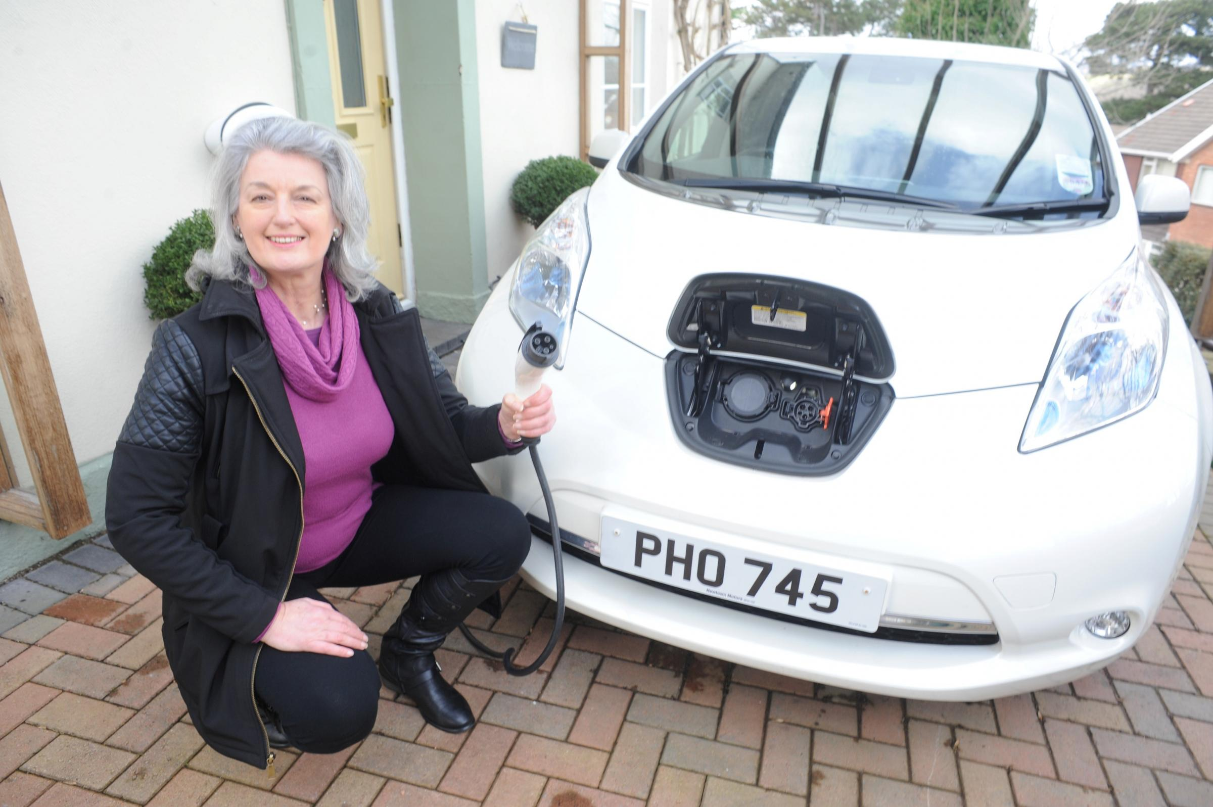 The Nissan Leaf electric car owned by Pippa Bartolotti, leader of Wales Green Party (4269830)