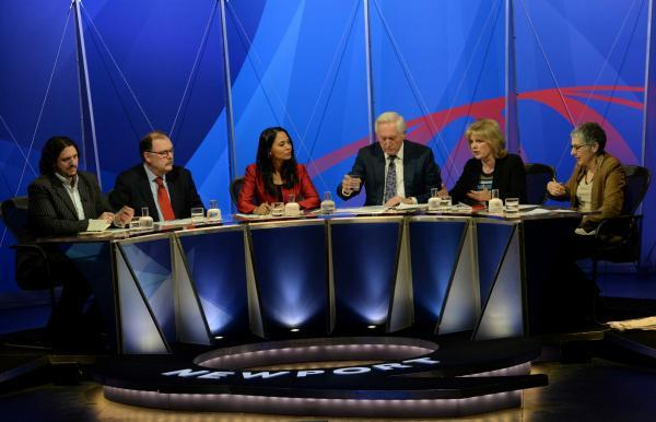 South Wales Argus: Question Time at Newport Riverfront Theatre. David Dimbleby with panellists Anna Soubry MP, Rushanara Ali MP, Elfyn Llwyd MP, Jay Rayner and Melanie Phillips
