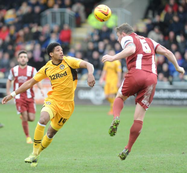 DETERMINED: Newport County striker Shaun Jeffers