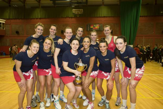 VICTORY: The Wales netball team celebrate with the Northern Cup