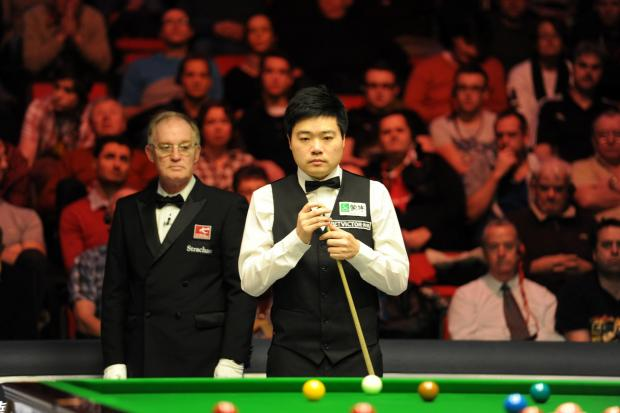 EXPERIENCE: Ding Junhui on his way to victory in the Welsh Open quarter-finalsPicture: Jon Bevan