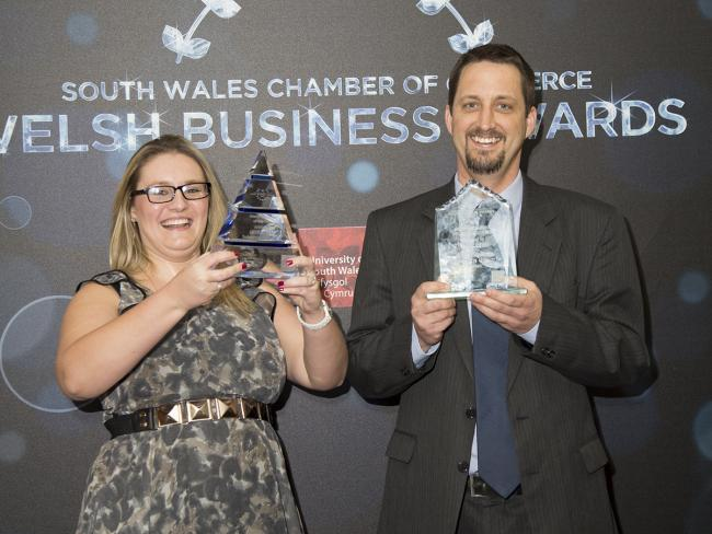 Amy Skerratt and Andrew Dunn, from SERS Energy Solutions Group, winners of the awards for Welsh Company of the Year and Most Promosing Growth Business at the South Wales Chamber of Commerce Awards