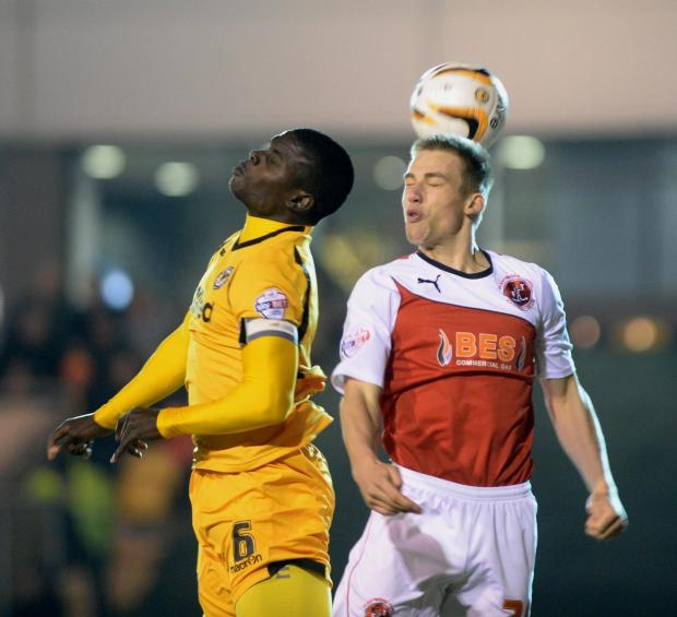 HIGH RISER: Newport County's Ismail Yakubu in action against Fleetwood