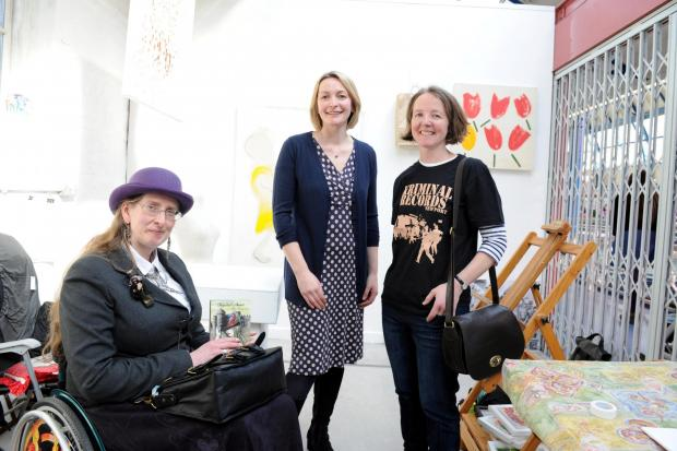 Opening of a exhibition of Gwent Women artists in the indoor market in Newport L-R Meg Kingston , Ella Edwards and Jess Morden MP (4470193)
