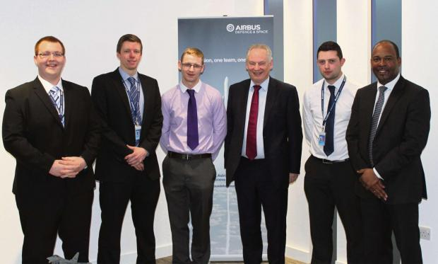 (L-R) Airbus apprentices Sam Redman, Michael Sparrey, Daniel Evans, Minister for the Cabinet Office Francis Maude, Airbus apprentice Ross England and Michael Stevens, MD Cassidian, Airbus Defence & Space. (4461453)