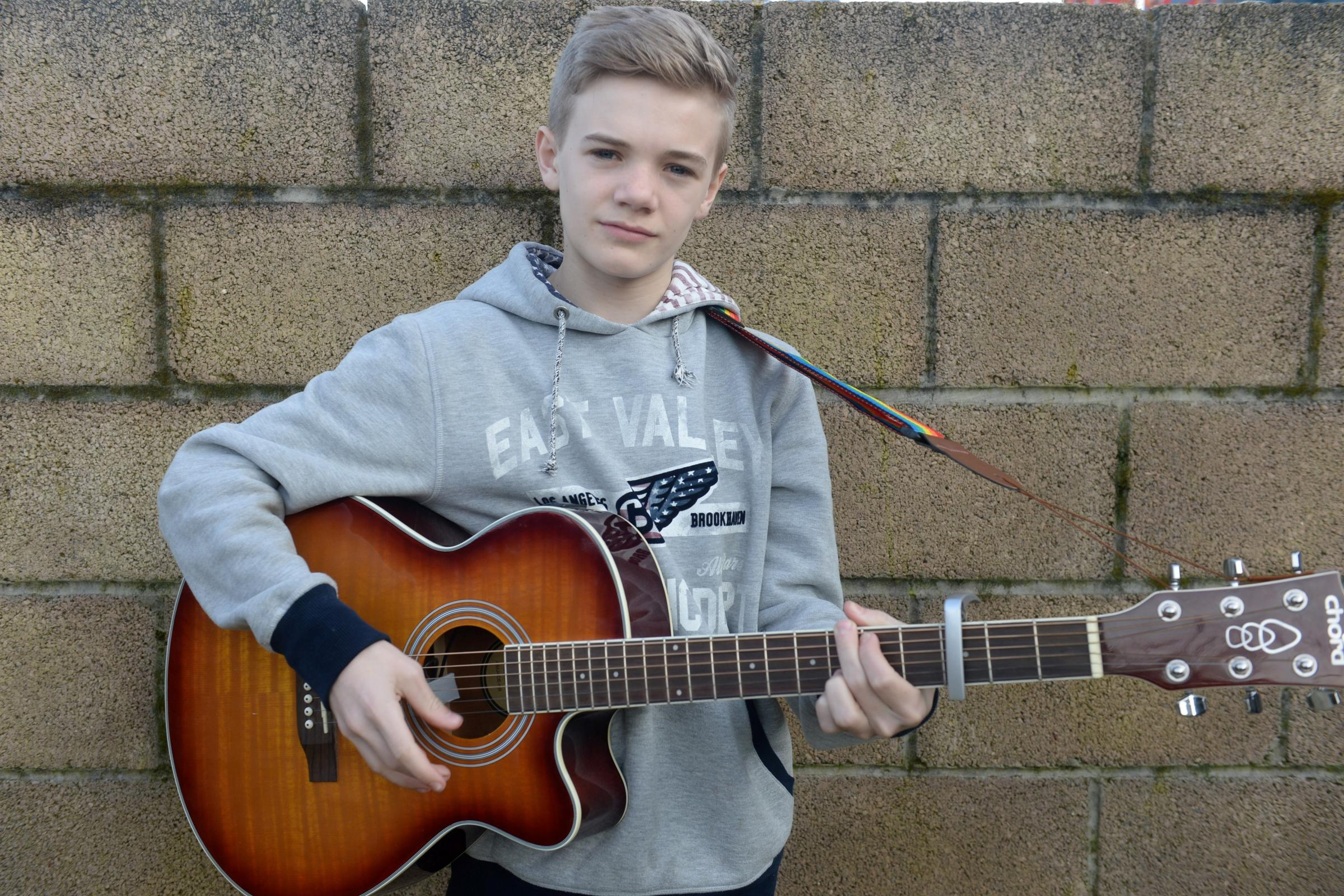 Kieran Marsh has reached the regional finals of UK singing competition Teen Star. Kieran is pictured at home in Newport. (4503678)