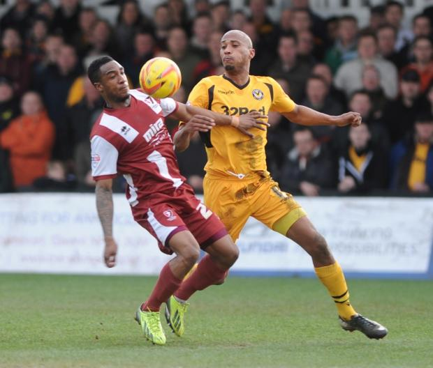 TOP SCORER: Newport County striker Chris Zebroski, right