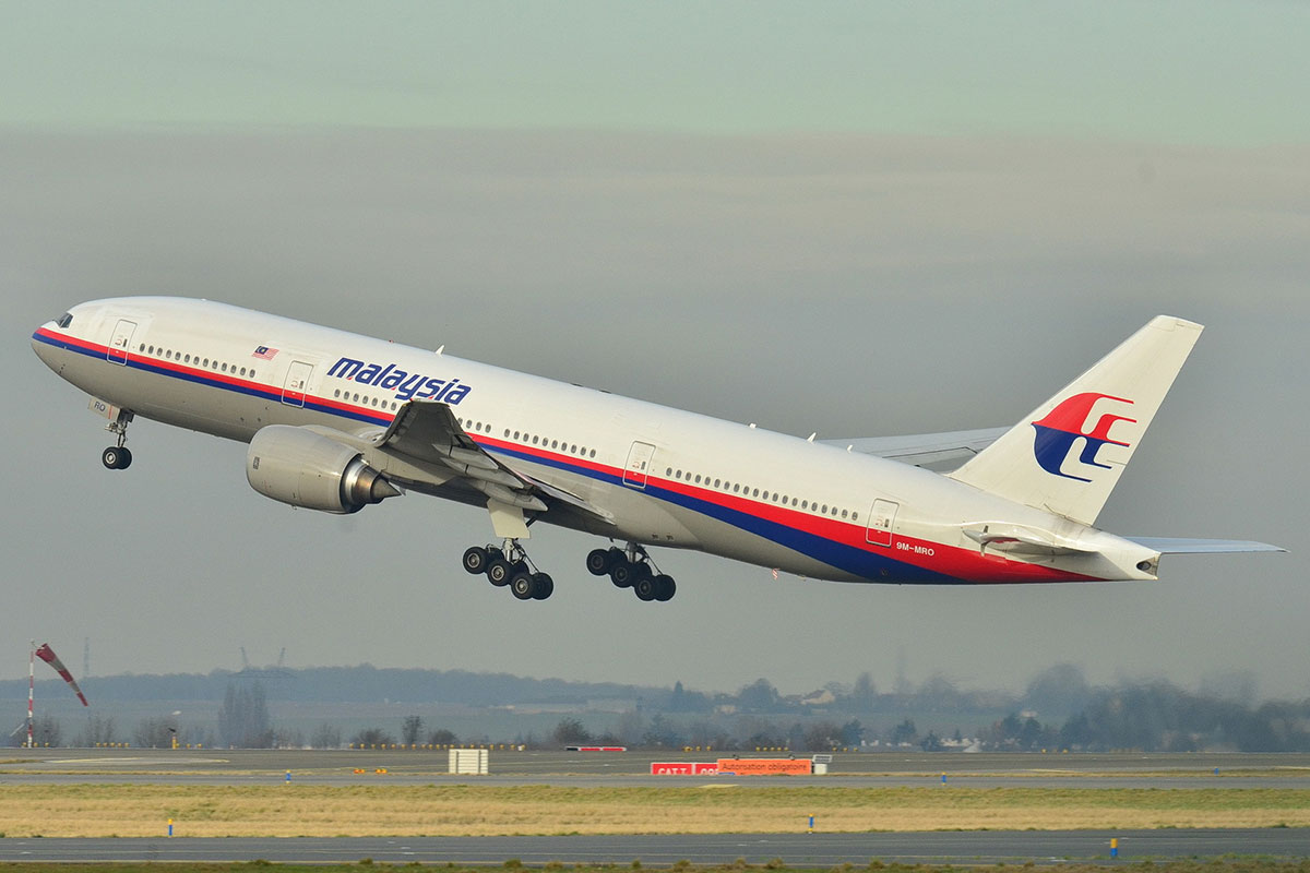 The Malaysia Airlines Boeing 777-200ER which disappeared seen earlier this year taking off from Roissy-Charles de G