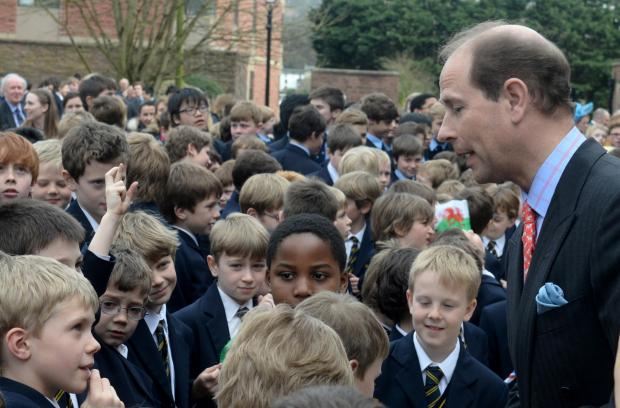 South Wales Argus: HRH The Earl of Wessex opens the new William Jones building at Monmouth School. HRH The Earl of Wessex talks to schoolchildren from the Grange at Monmouth School for Boys. (4665784)