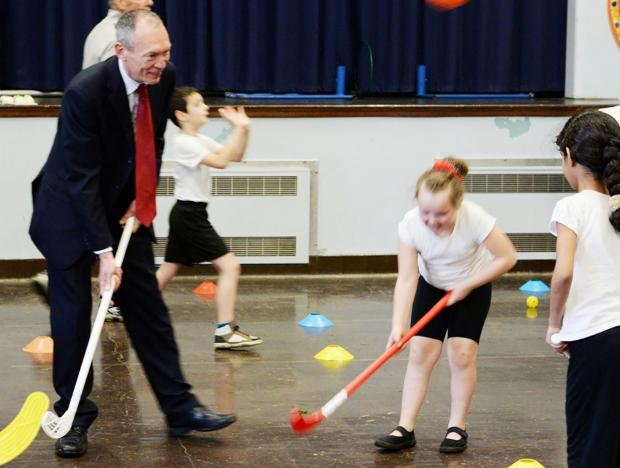 VISIT: Culture and sport minister John Griffiths at Maesglas Primary School, Newport, promoting the Welsh Goverment's new physical literacy programme