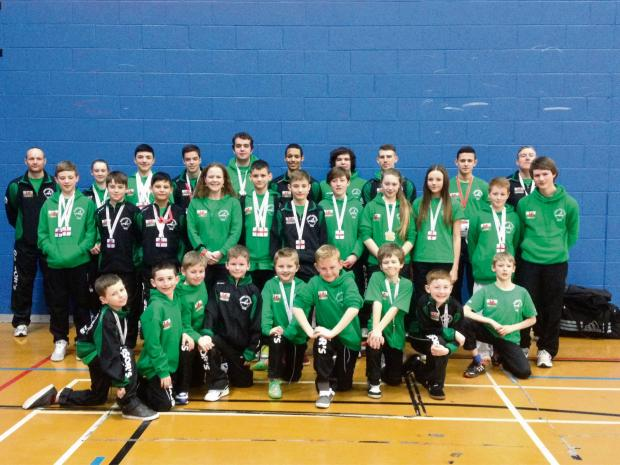 MEDALS GALORE: Gassor's Taekwon-Do team after the English Championships