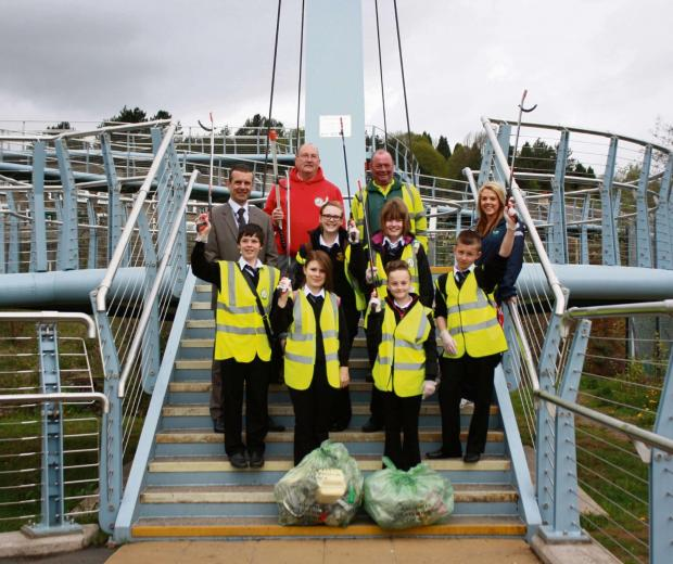 BIG CLEAN: Pupils from across Caerphilly county borough taking part in the Big Spring Clean 2013.