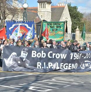 Tributes to Bob Crow outside the City of London Cemetery and Crematorium