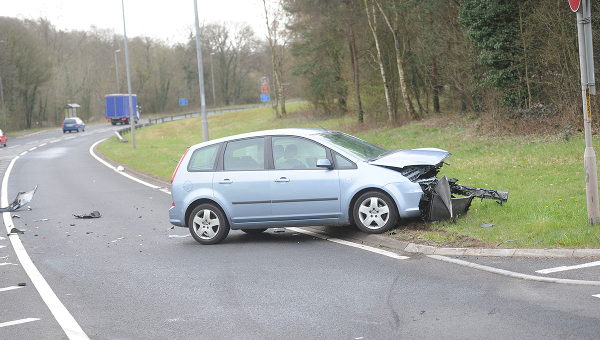 PICTURES: Two-car A4042 crash causes delays near Pontypool