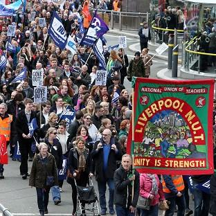 Teachers march through Liverpool City centre in support of the National Union of Teachers