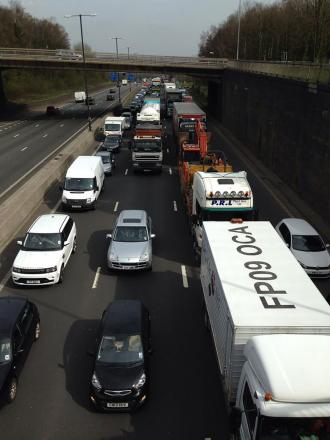 DELAYS: Queuing traffic on the M4 in Newport