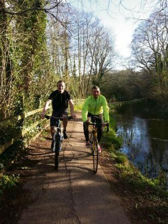 CYCLISTS:(L-R) Ryan Farley and Rob Shipley train for their world cycle this summer