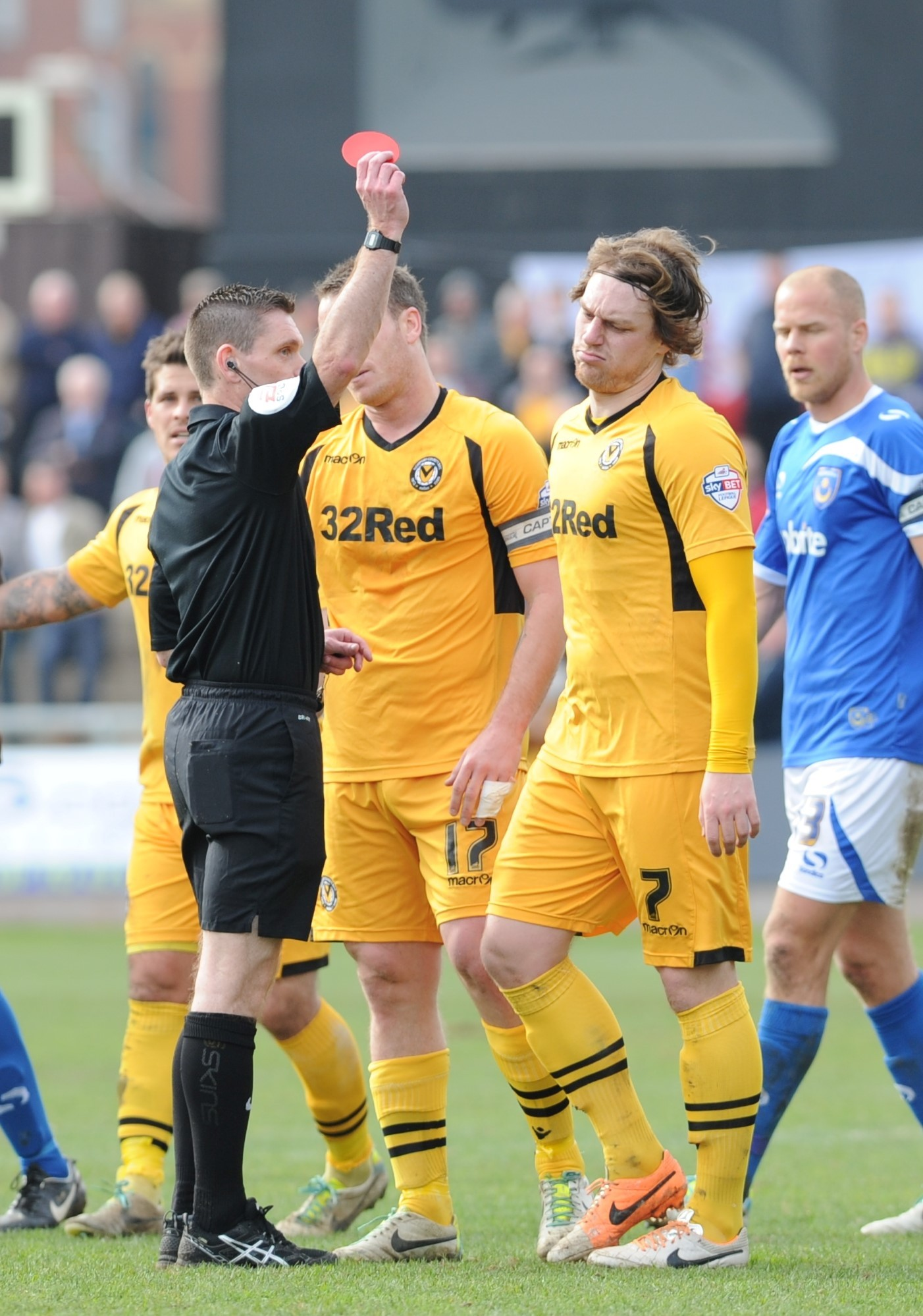 RED CARD: Adam Chapman is sent off by referee Steve Bratt last Saturday