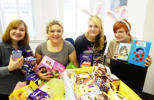 Brook Street recruitment staff who have been collecting Easter eggs for good causes. GOOD EGGS  From left, Sara Gibby, Gina Gaunt, Natalie Poynton and Alex McCue, (ok) (5285768)