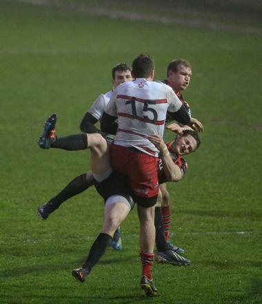 Dragons v Edinburgh - Rodney Parade. Hallam Amos goes in hard on Jack Cuthbert. (5106748)
