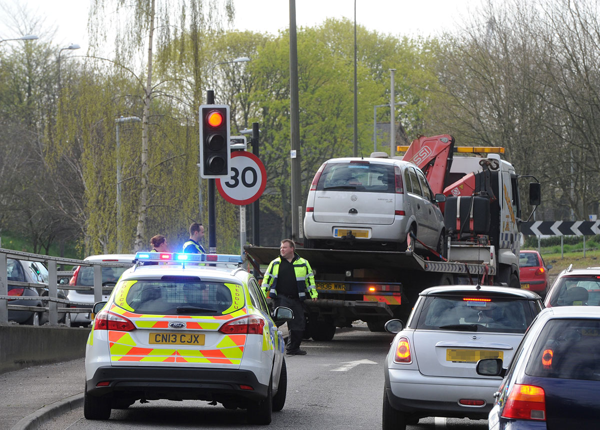 The car belonging to the man taken to hospital this morning, is removed from near the Harlequin Roundabout in Newpor