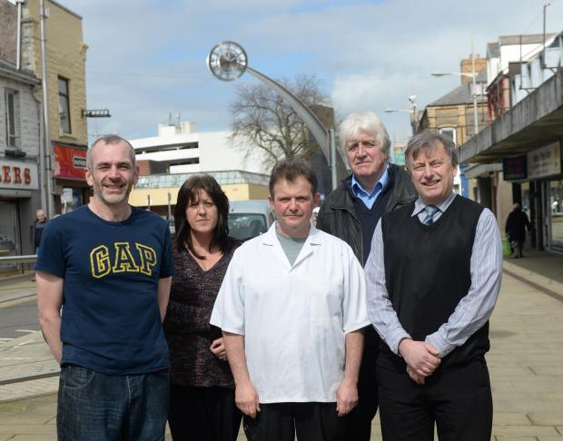 Ebbw Vale shop owners (l-r) Al Cartwright, Patricia Pitts, Remo Basini, Phillip Edwards and Phil Greenway