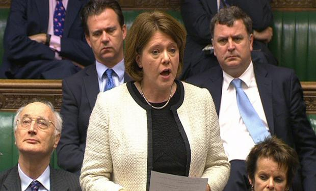 Maria Miller reading an apology statement in the House of Commons in London over her parliamentary expenses. PA Wire