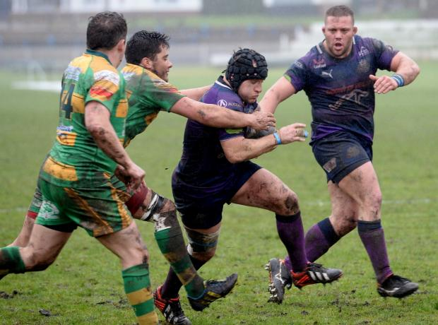 South Wales Argus: Ebbw Vale versus Beddau LOOKING FOR AGAP Ebbw Vale's Matthew Williams, (with ball) (5170516)