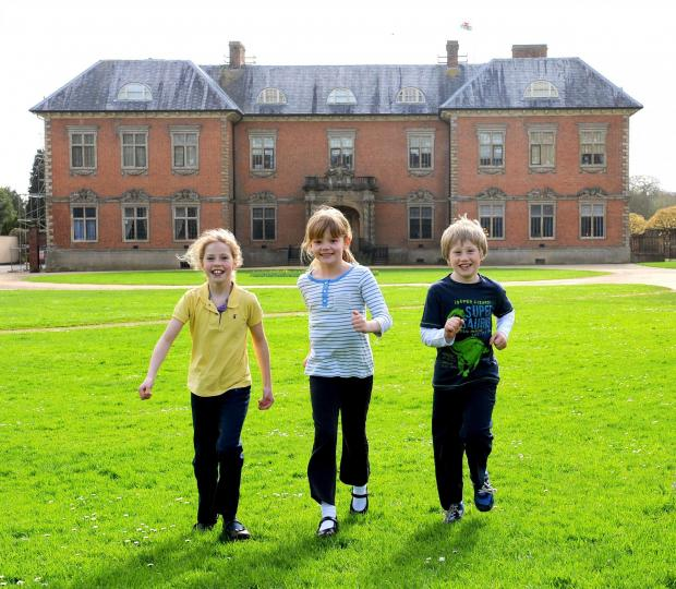 South Wales Argus: There off. The National Trust Easter egg hunt at Tredegar House, Newport. L-R Carys Salter 9 Isla Williams 8 and Joe Salter 7 (5265720)