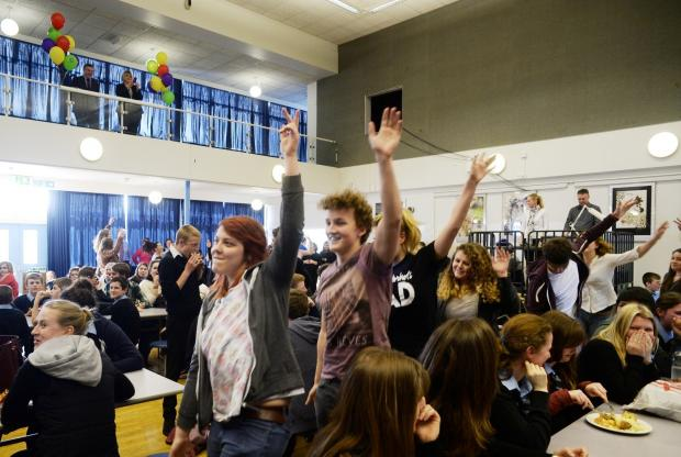 South Wales Argus: Chepstow School new website was launched and was earmarked with sixth form students performing a flashmob in the hall. (524