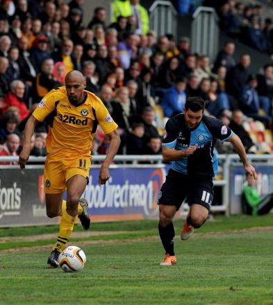 GOOD RUN: Chris Zebroski found the net once again against Wycombe on Saturday