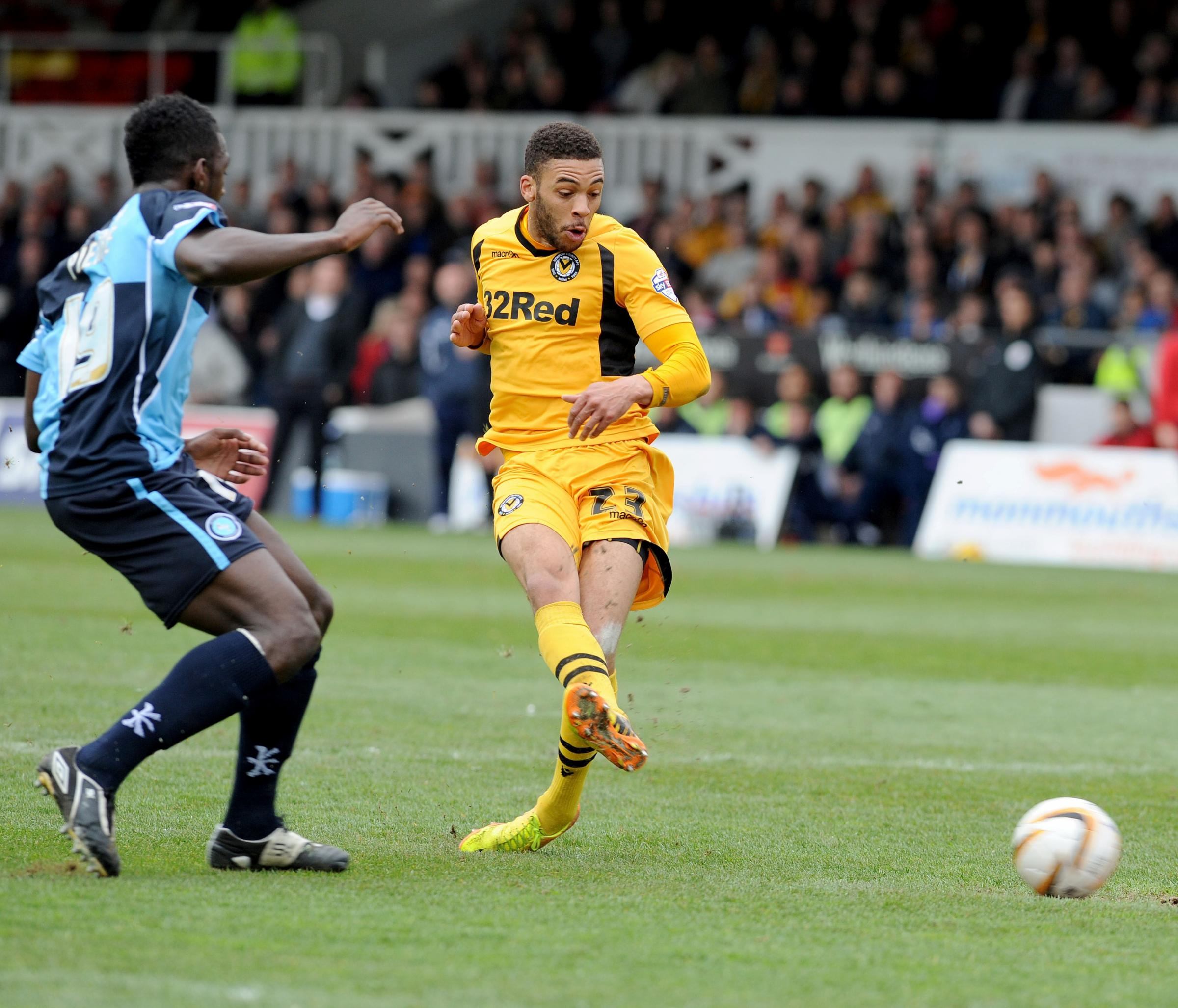 Newport County v Wycombe Wanderers First half shot from Christian Jolley (5376447)