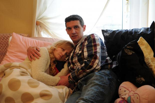 Lindsay Clarke from Talywain who suffers from a one in a million condition called Stiff-Person's Syndrome. Pictured with her husband Jason
