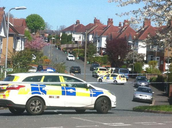 SCENE: Police on Ridgeway Drive in Newport on Tuesday afternoon