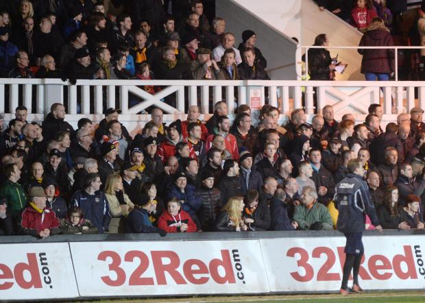 SUPPORT: Newport County fans watch the match against Fleetwood last month
