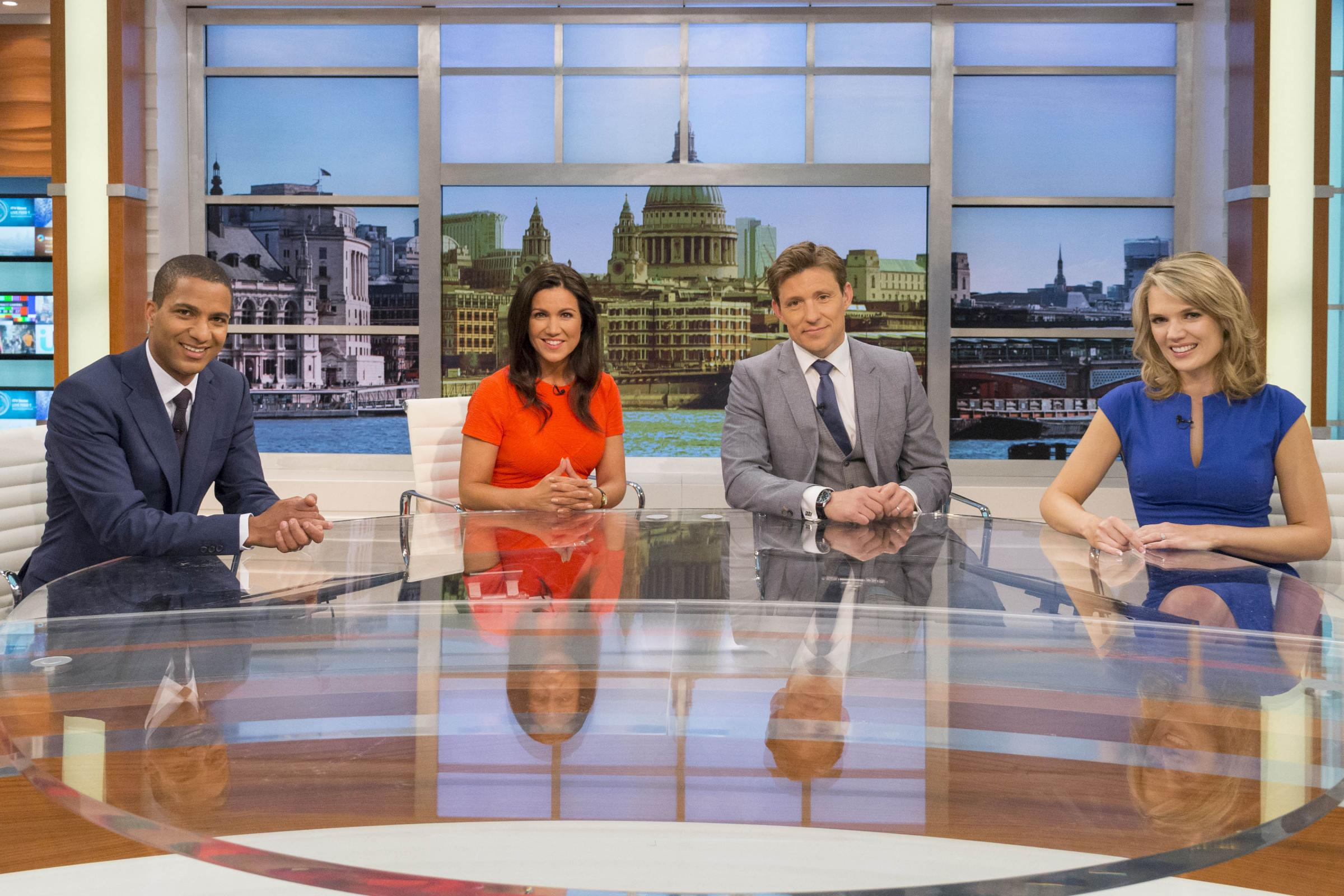 EMBARGOED: FOR PUBLICATION FROM 00.01 ON SUNDAY 27th APRIL 2014 GOOD MORNING BRITAIN Launches on Monday 28th April 2014 on ITV at 6am  Pictured: The shows  presenters (l-r) Sean Fletcher Susanna Reid, Ben Shephard, and Charlotte Hawkins during rehearsels