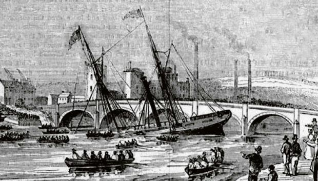 WRECK: The Steamship Severn wrecked on the east bank of the Usk, between the modern day Millennium footbridge and the railway bridge. An artist from the Illustrated London News drew a dramatic view of the incident.