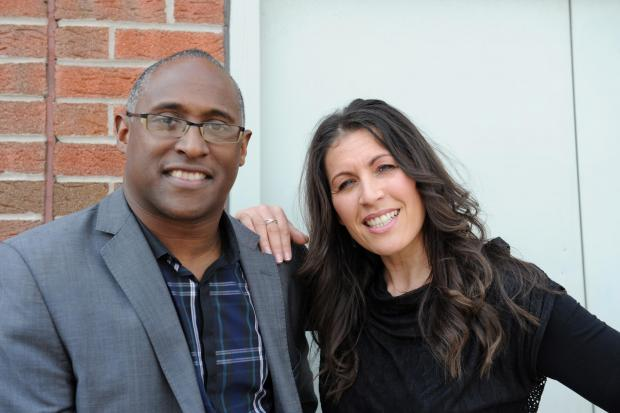"South Wales Argus: Senior pastor at Newport City Church Robbie Howells is encouraging Newport citizens to take part in a music video based on Pharrell Williams' hit song ""Happy"".  Pictured is Pastor Robbie with his wife Donna outside the church. (5805443)"