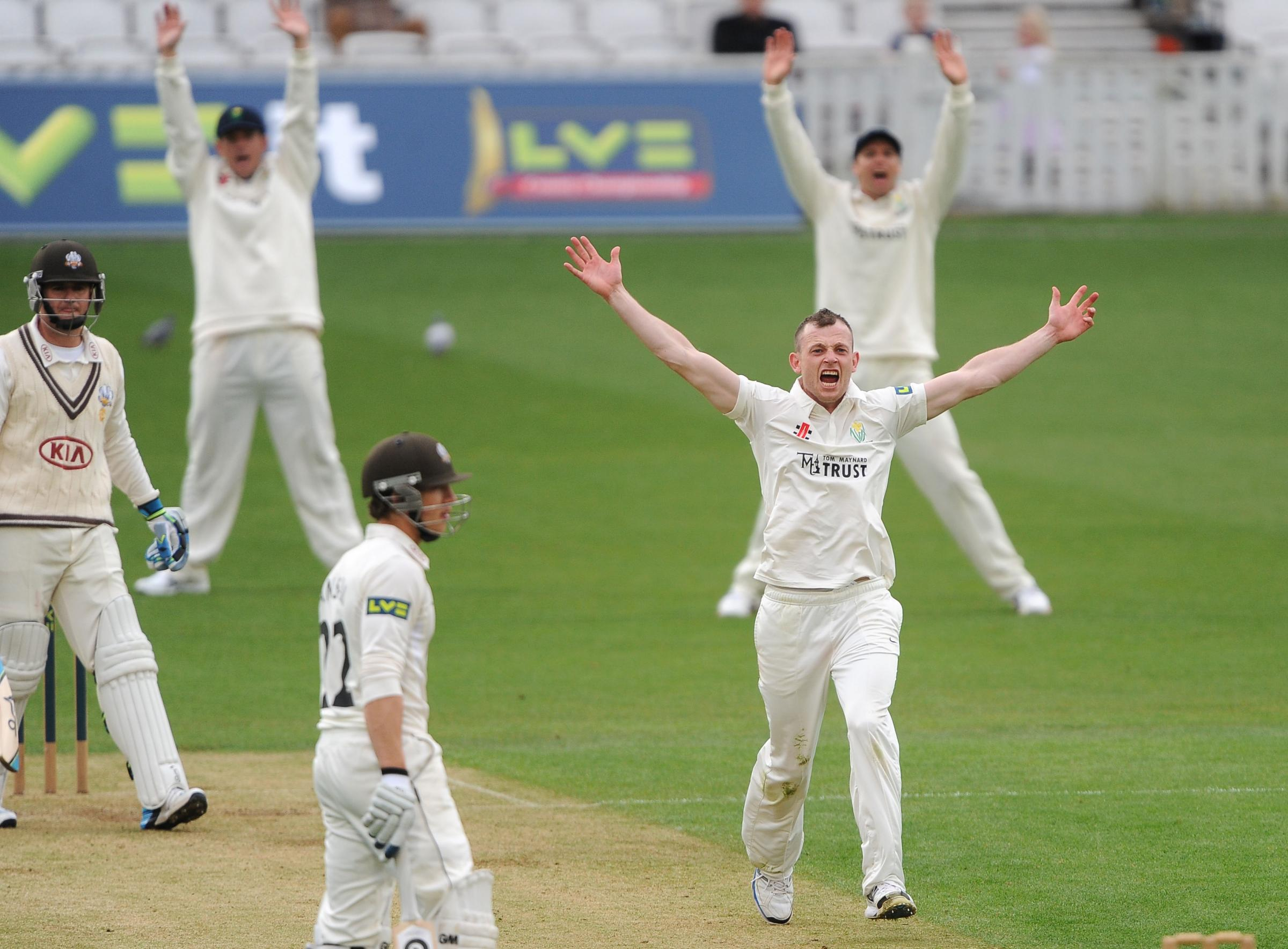 Glamorgan's Graham Wagg appeals to the umpire for the wicket of Surrey's Steven Davies during