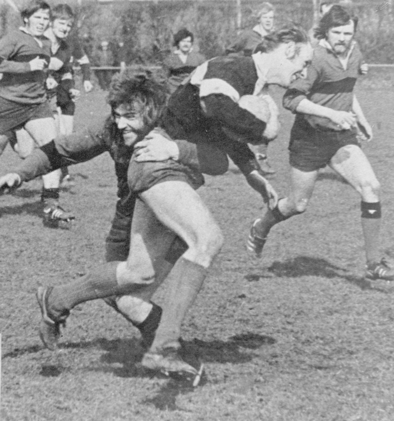 FUN TIMES: One of my good games in 1976, when I managed to bring down this Bedwas Seconds winger every time he tried to get past me