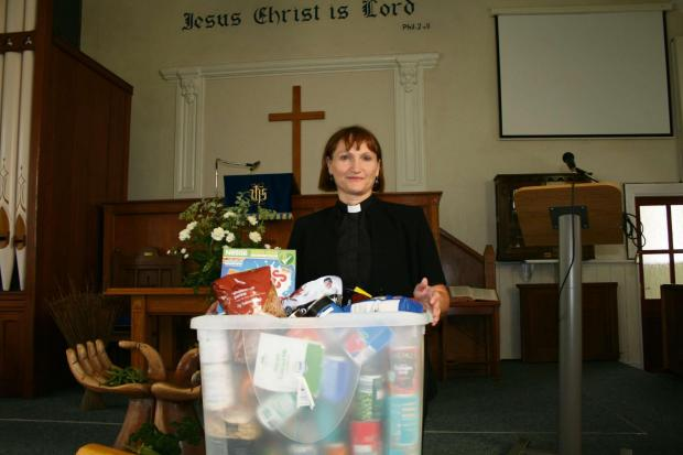 APPEAL: Reverend Sue Phillips, of the Elim Baptist Church food bank in Pontllanfraith, among those welcoming donations.