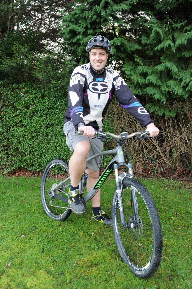 South Wales Argus: Pictured on his X Country Mountain Bike is Gareth Bailey.  Gareth is fundraising for the Welsh Air Ambulance who rescued him following a mountain bike accident last year. (3806539)