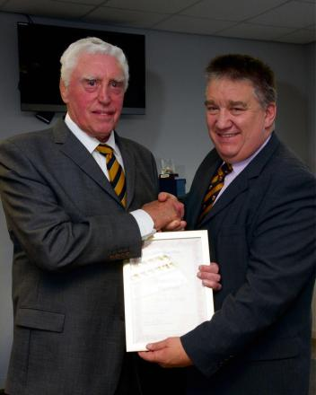 RUGBY ICON: Brian Price, left, with FoNR membership secretary John Evans
