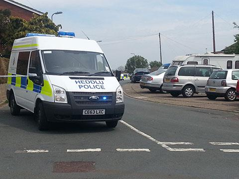 SCENE: Police on Bryn Bevan in Shaftesbury on Monday
