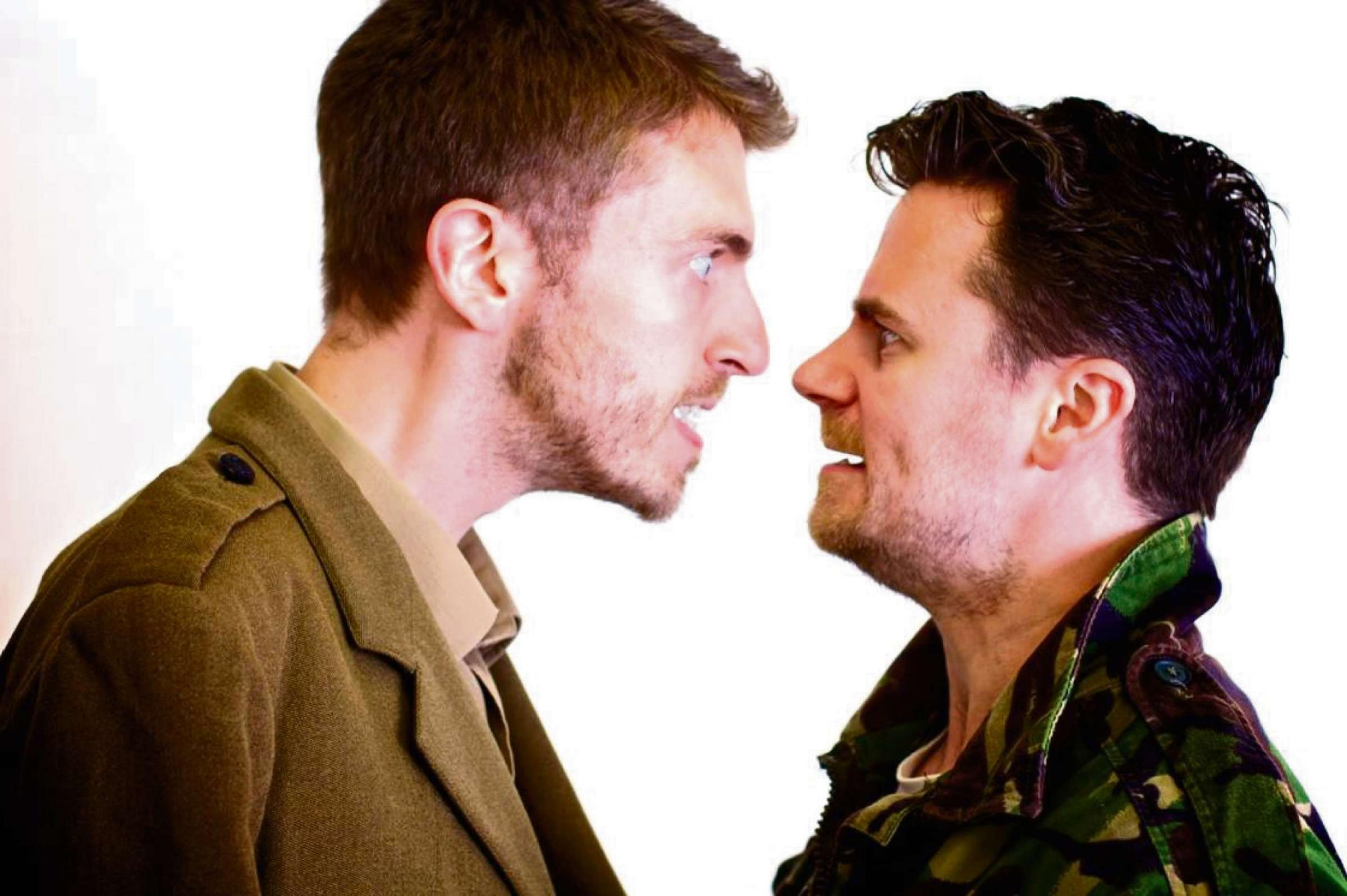WAR: Alan Humphreys as a First World War soldier and Neal McWilliams as a contemporary soldier in the The War is Dead Long Live The War by Patrick Jones