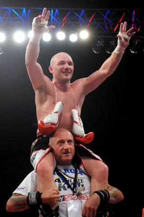 Gavin Rees celebrates beating Gary Buckland in their WBC International super middleweight title fight at the Motorpoint Arena, Cardiff. PRESS ASSOCIATION Photo. Picture date: Saturday May 17, 2014. See PA sto